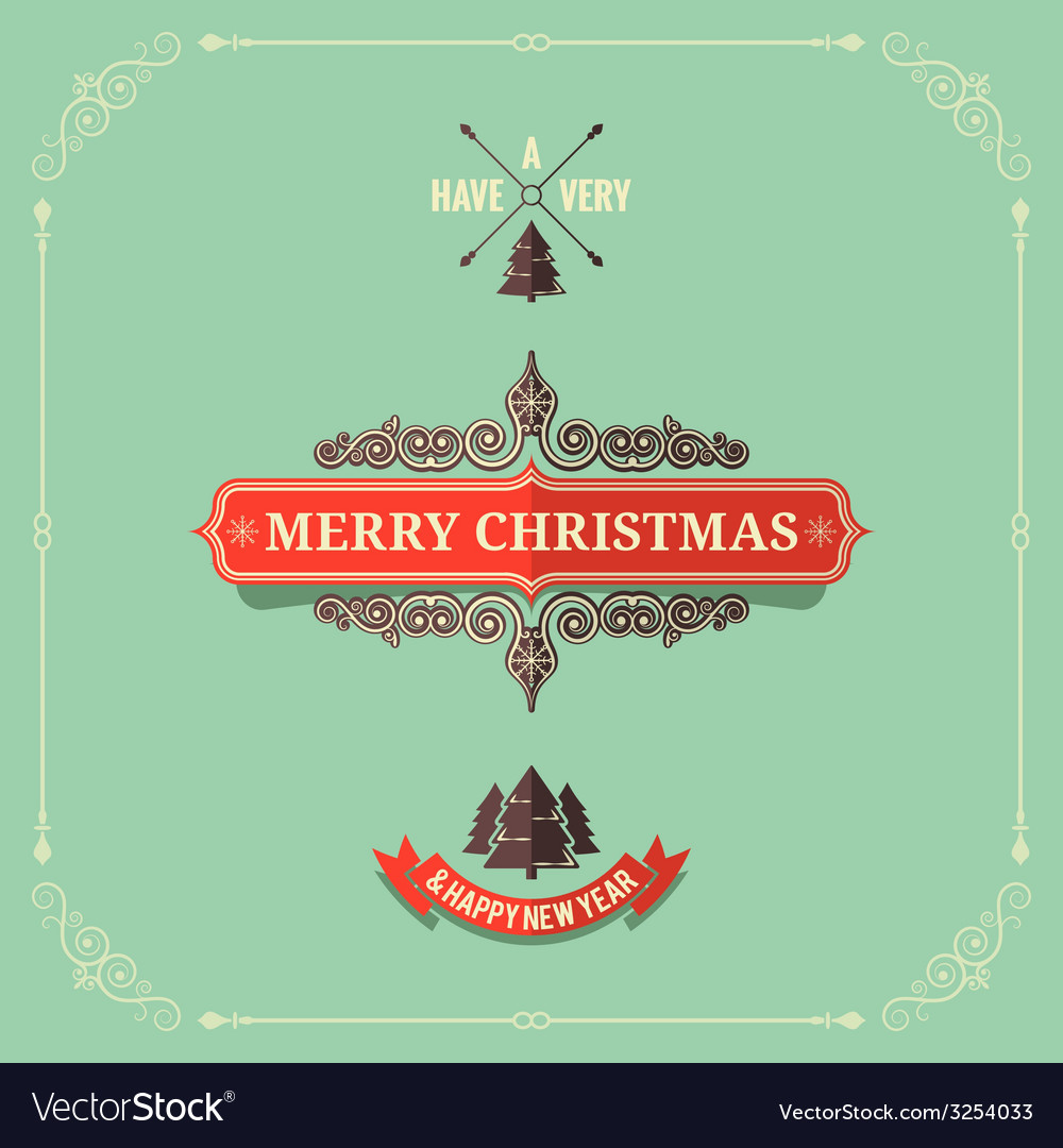Christmas vintage card background vector