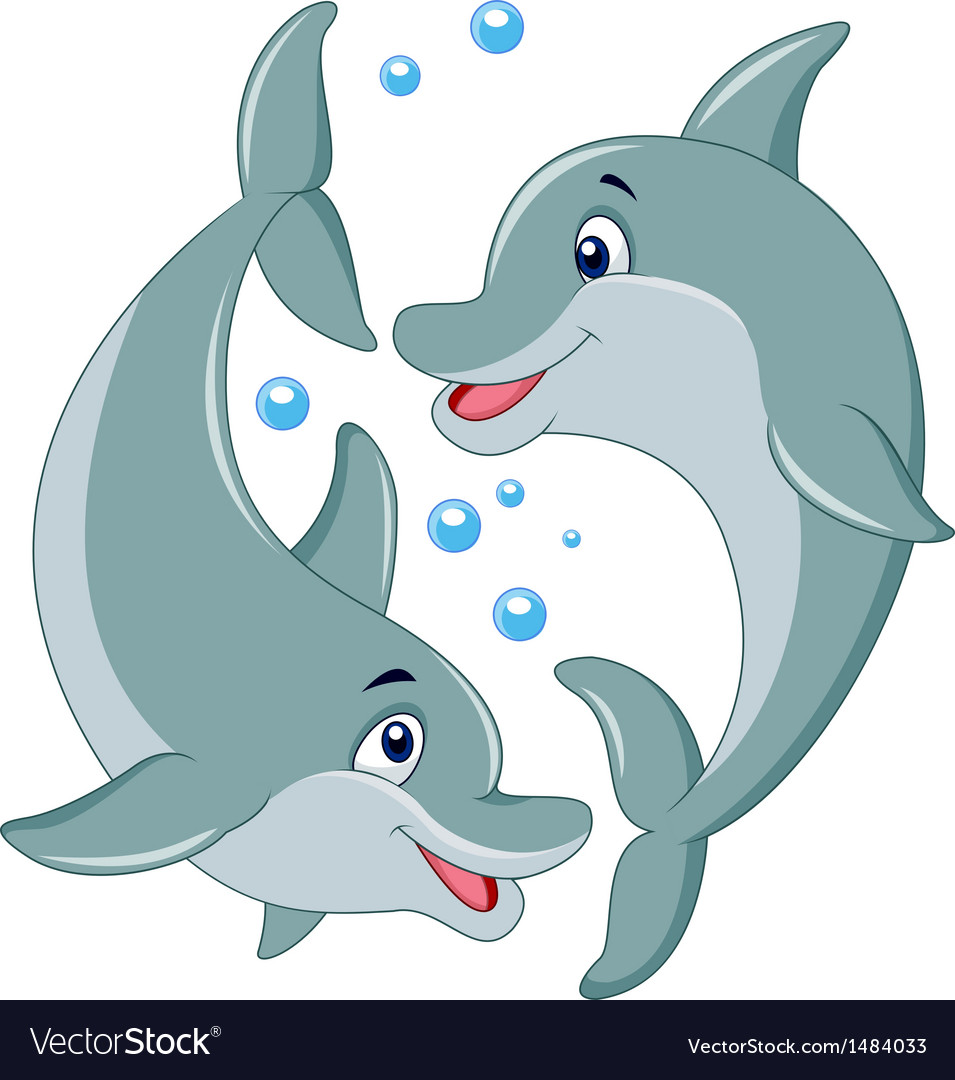 Cute dolphin couple cartoon vector | Price: 1 Credit (USD $1)