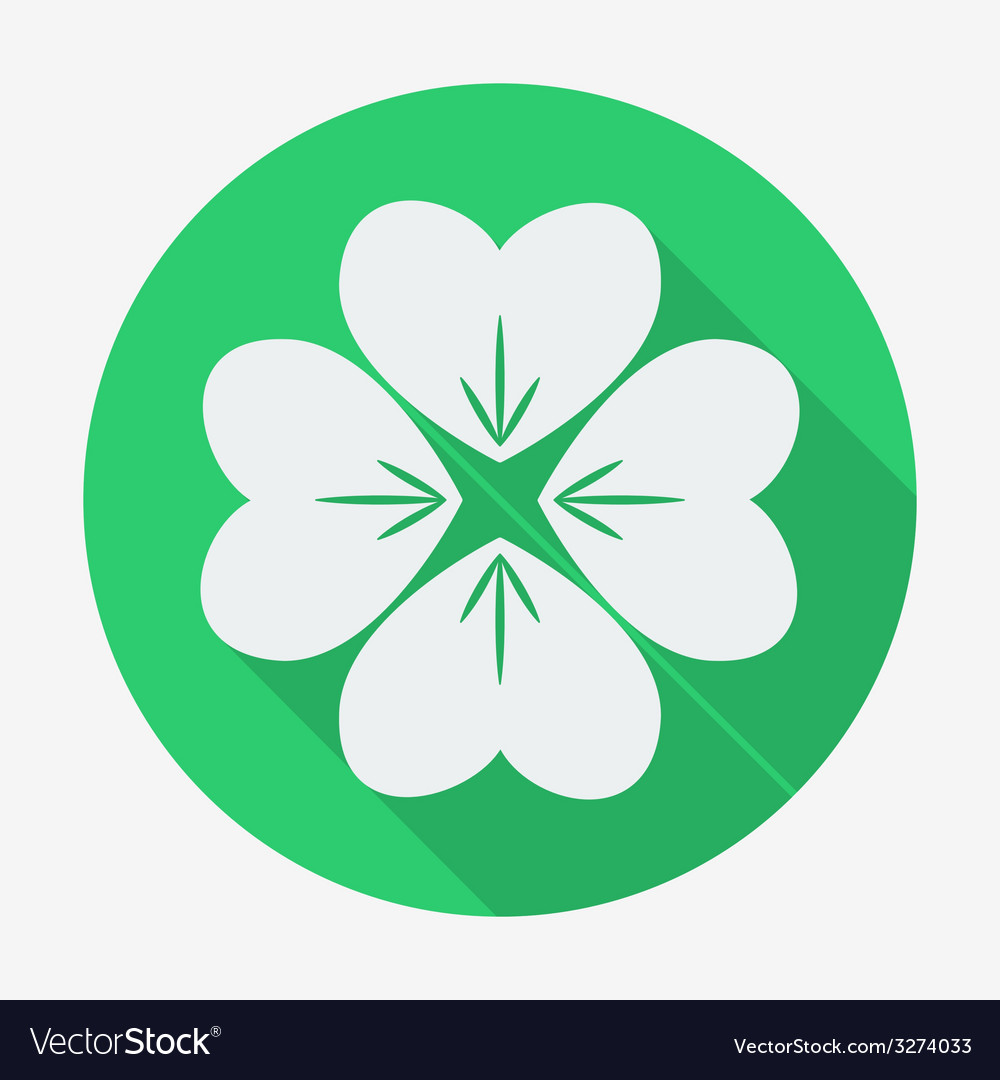 Flat style icon with long shadow four-leaf clover vector | Price: 1 Credit (USD $1)