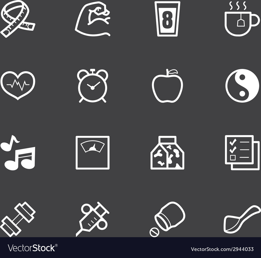 Healthy element white icon set 1 on black backgrou vector | Price: 1 Credit (USD $1)