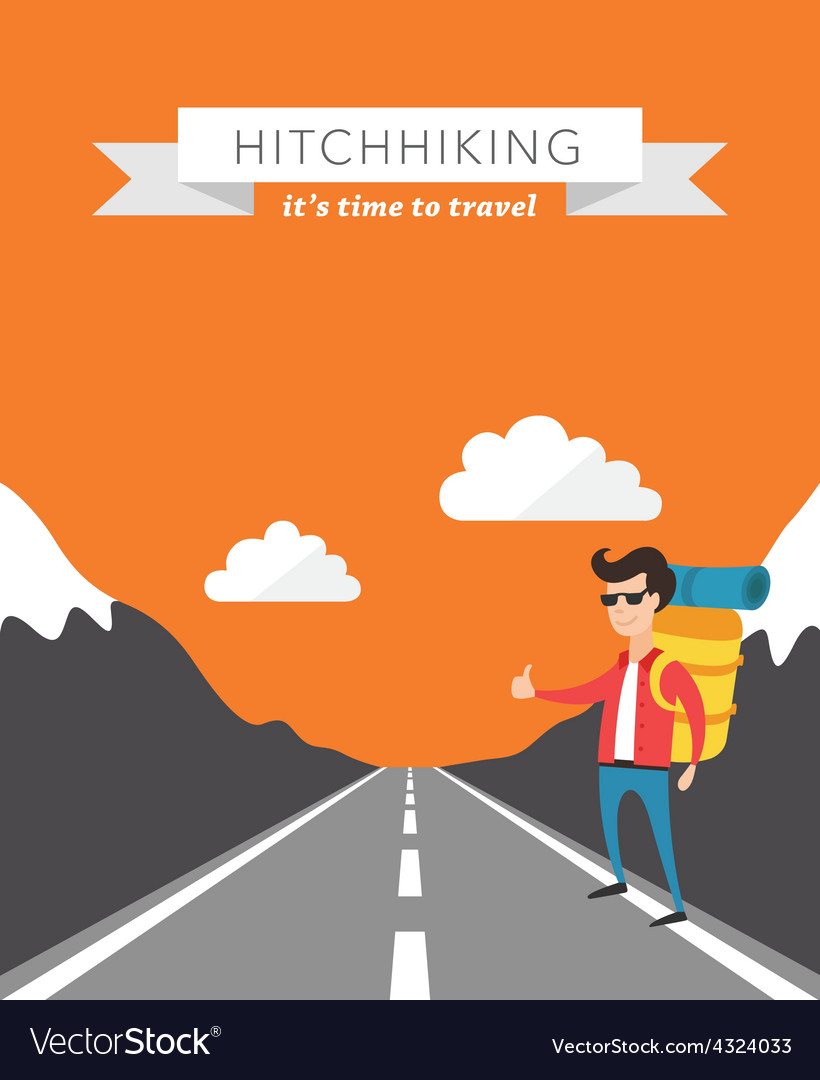 Hitchhiking flat background vector | Price: 1 Credit (USD $1)