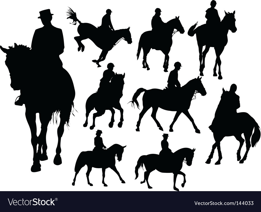 Horse rider silhouettes vector | Price: 1 Credit (USD $1)