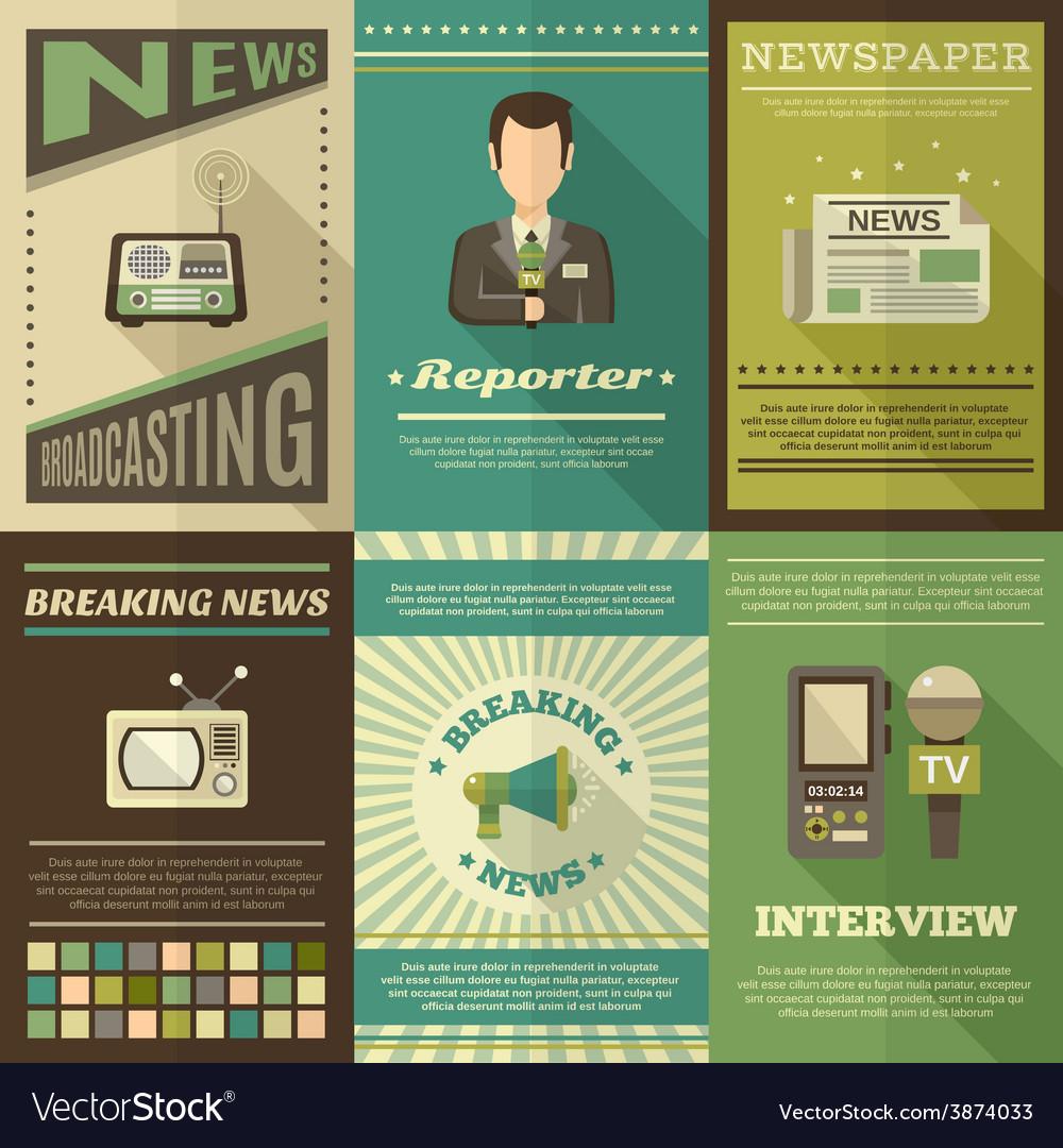 Journalist poster set vector | Price: 1 Credit (USD $1)