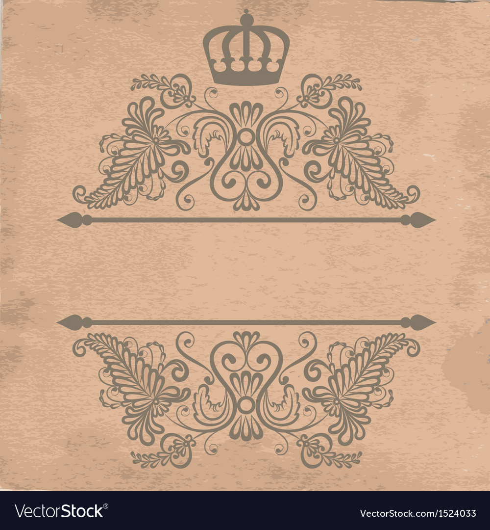Old cardboard paper texture with royal frame vector | Price: 1 Credit (USD $1)