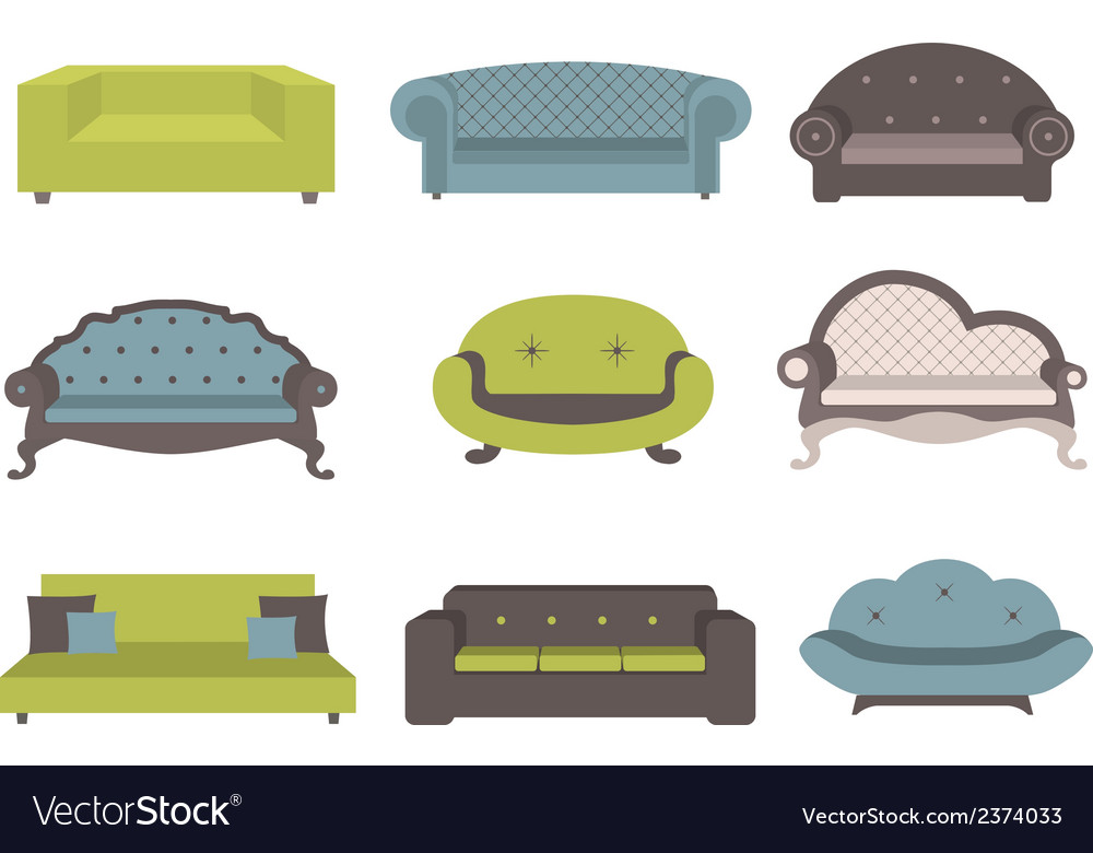 Sets of colorful sofa furniture for an int vector | Price: 1 Credit (USD $1)