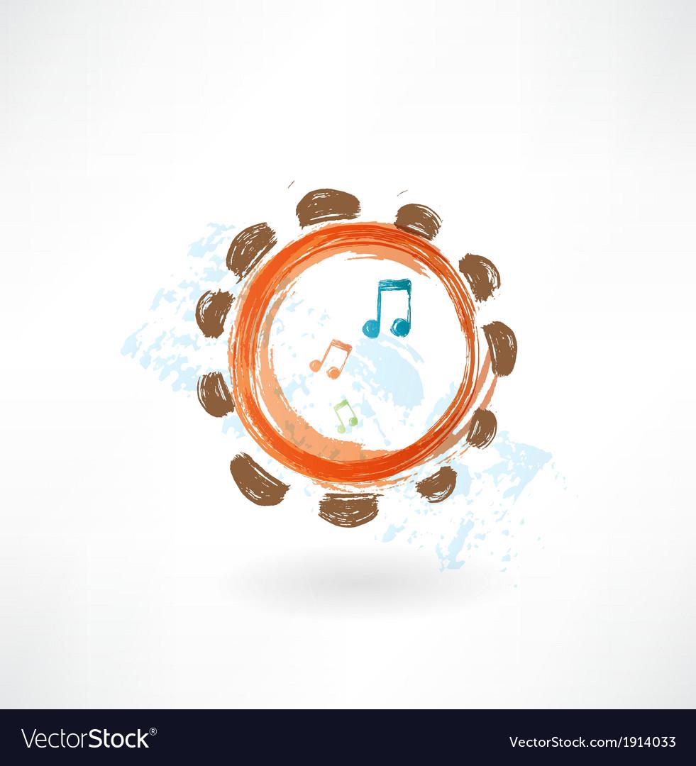 Tambourine grunge icon vector | Price: 1 Credit (USD $1)