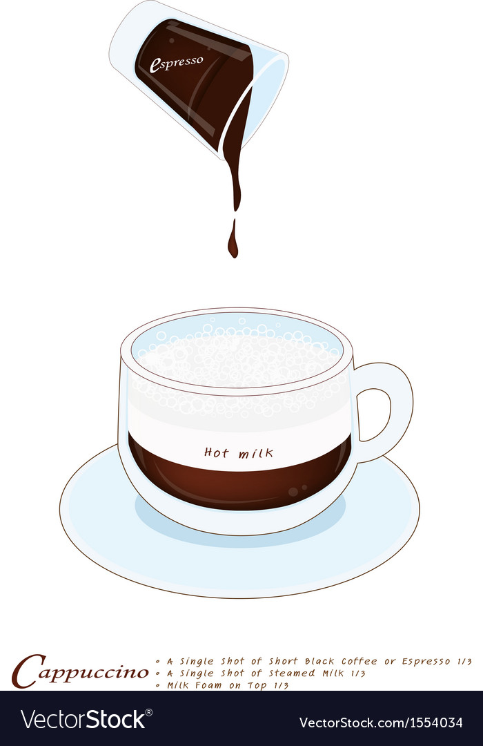 Cappuccino coffee drink in a glass cup vector | Price: 1 Credit (USD $1)