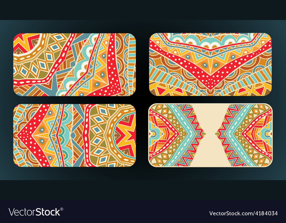 Cards design ethnic pattern set vector | Price: 1 Credit (USD $1)