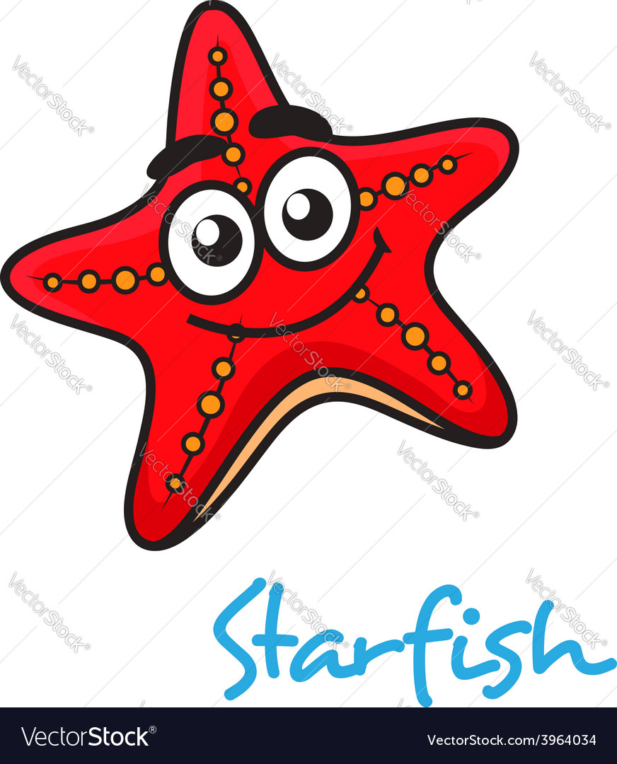 Cartoon red star fish with happy face vector | Price: 1 Credit (USD $1)