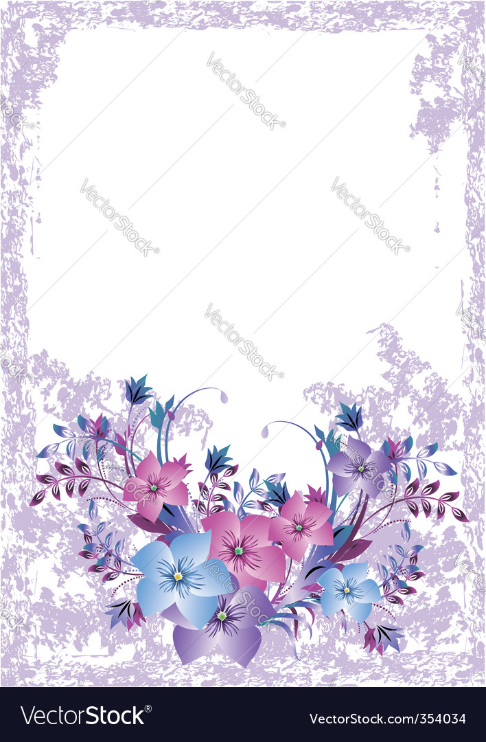 Grunge floral card vector | Price: 1 Credit (USD $1)