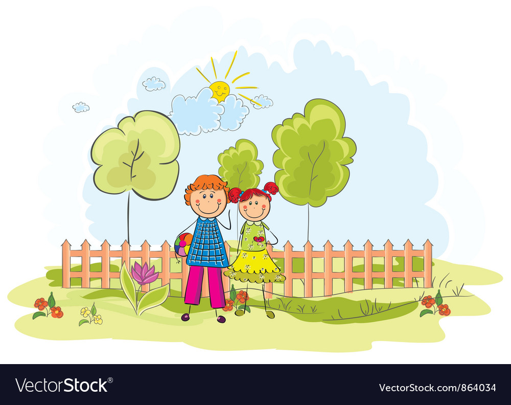 Kids playing in the park vector | Price: 3 Credit (USD $3)