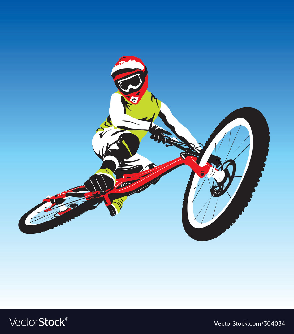 Mountain biker vector | Price: 1 Credit (USD $1)