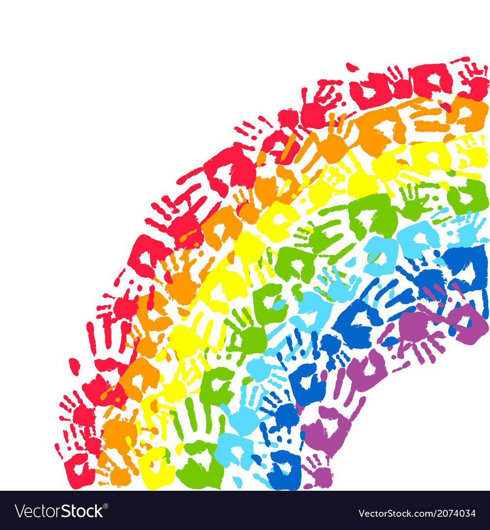 Rainbow made from hands vector | Price: 1 Credit (USD $1)
