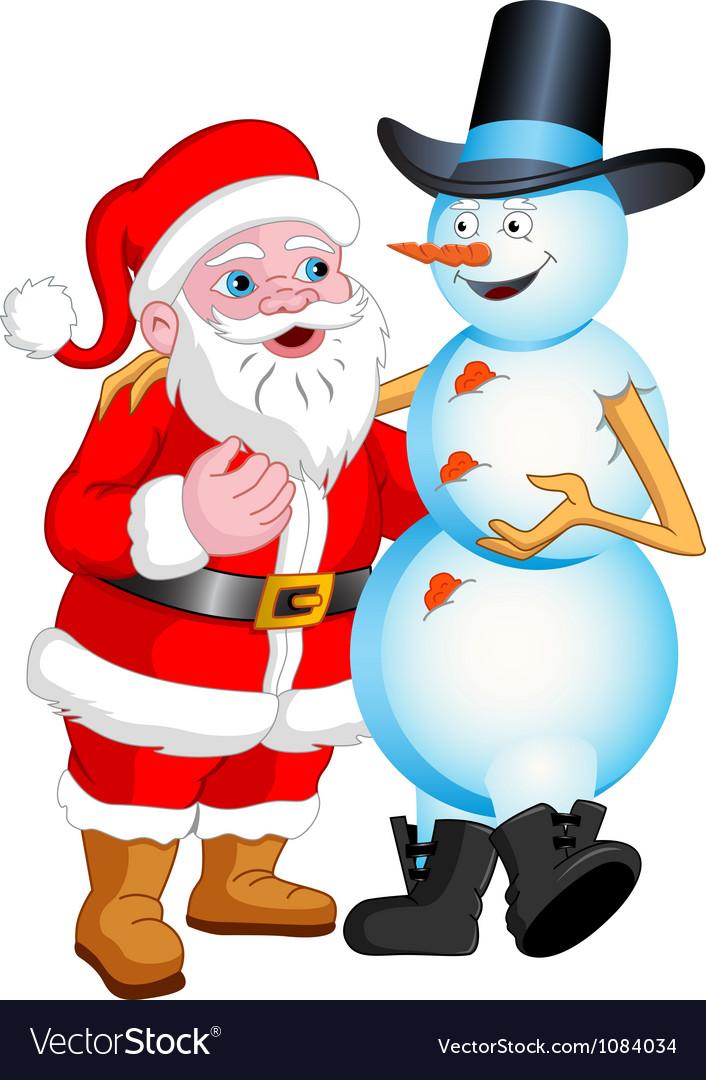 Santa and snowman talking vector