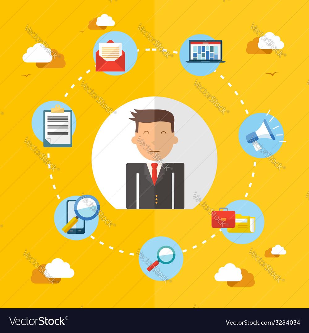 Social media businessman flat vector | Price: 1 Credit (USD $1)