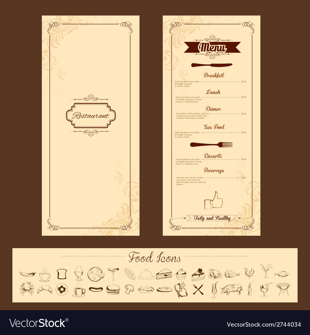 Template for menu card vector | Price: 1 Credit (USD $1)