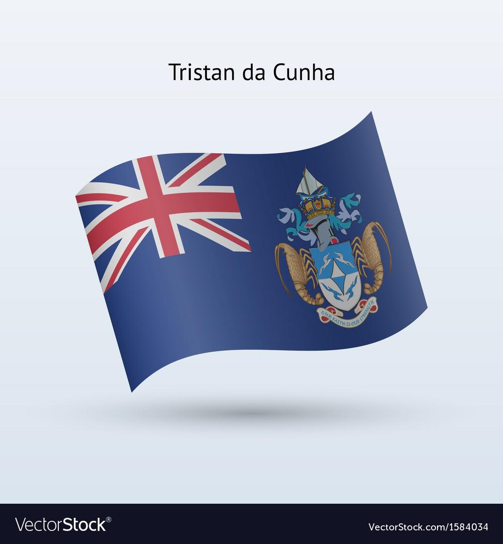 Tristan da cunha flag waving form vector   Price: 1 Credit (USD $1)