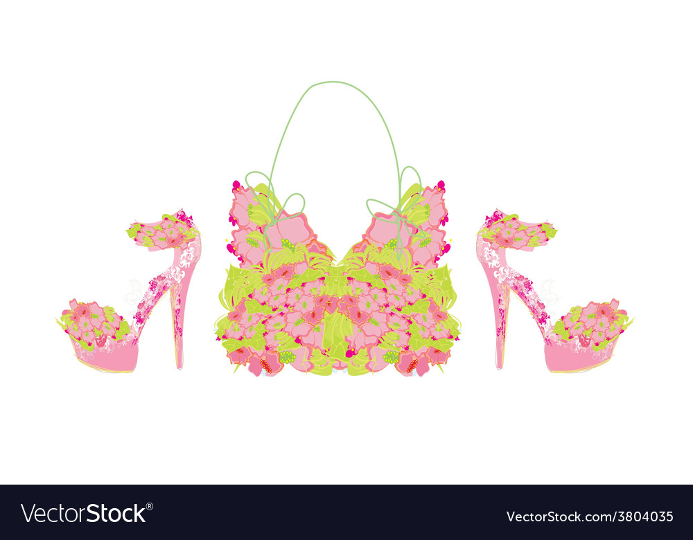Beautiful floral female shoes and bags vector | Price: 1 Credit (USD $1)