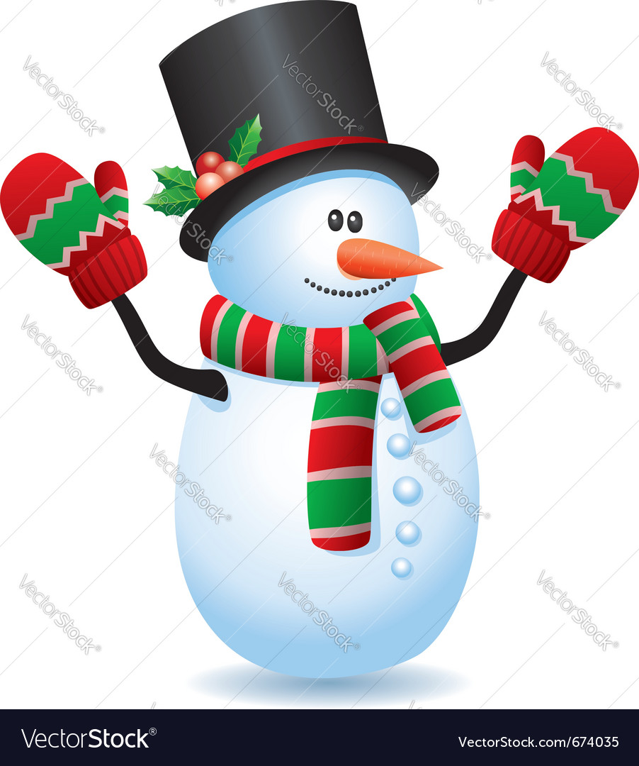 Happy snowman vector | Price: 1 Credit (USD $1)