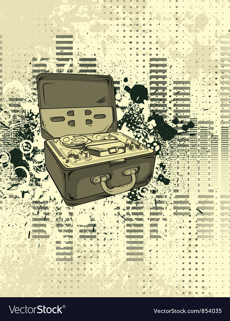 Old tape recorder with grunge background vector | Price: 1 Credit (USD $1)