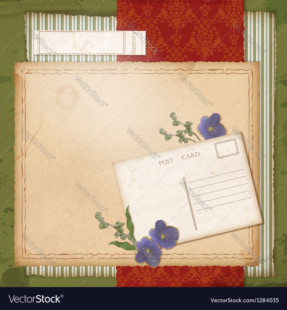 Scrapbook old paper background with dried flower vector | Price: 3 Credit (USD $3)