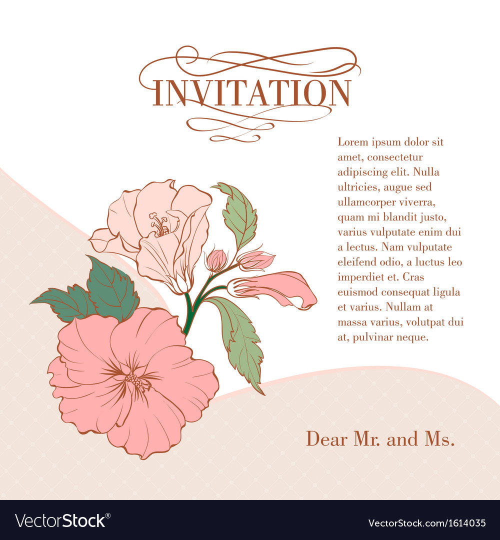 Vintage hibiscus flower on white background vector | Price: 1 Credit (USD $1)