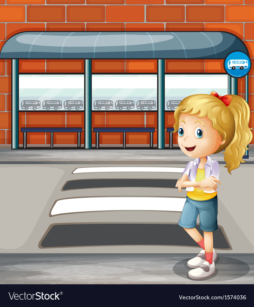 A smiling young woman standing near the pedestrian vector | Price: 3 Credit (USD $3)