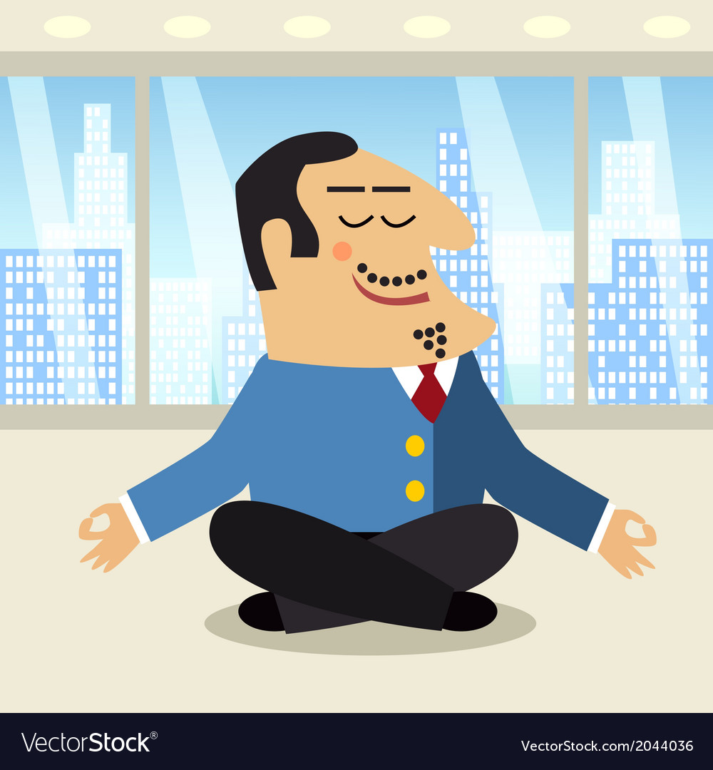 Boss meditation scene vector | Price: 1 Credit (USD $1)