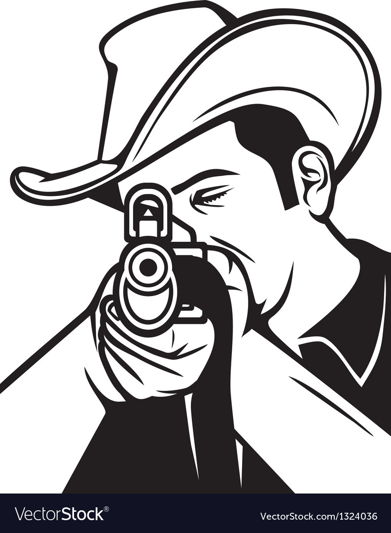Cowboy shooting a rifle vector | Price: 1 Credit (USD $1)