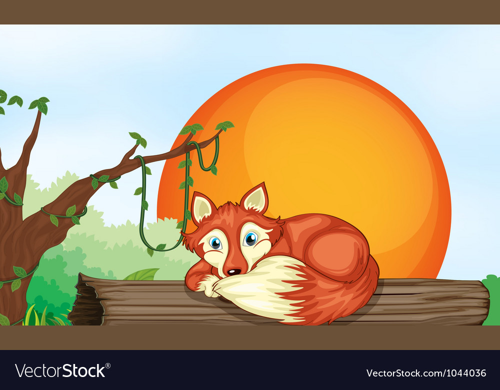 Fox resting on wood vector