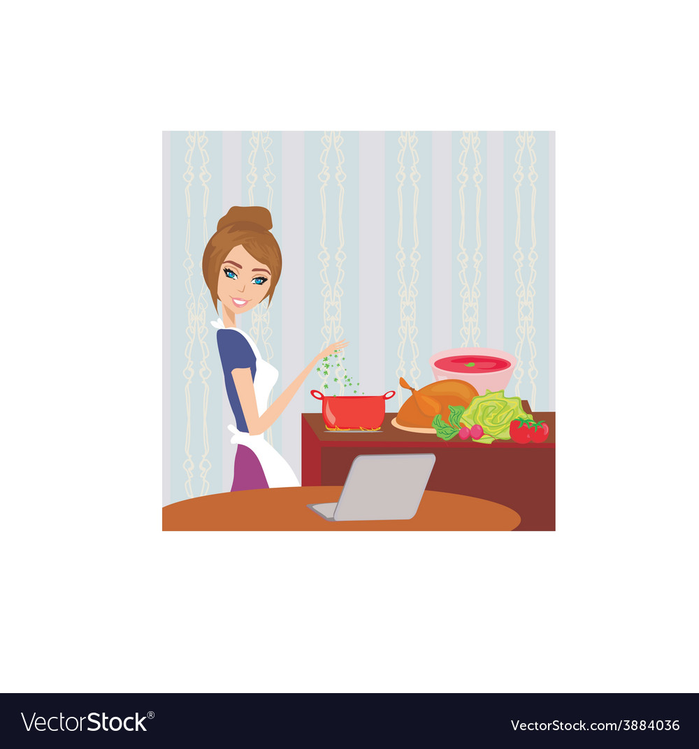 Housewife looking in laptop during cooking soup at vector | Price: 1 Credit (USD $1)