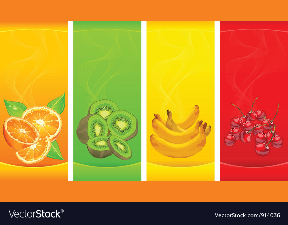 Little four coloured fruits background vector | Price: 3 Credit (USD $3)