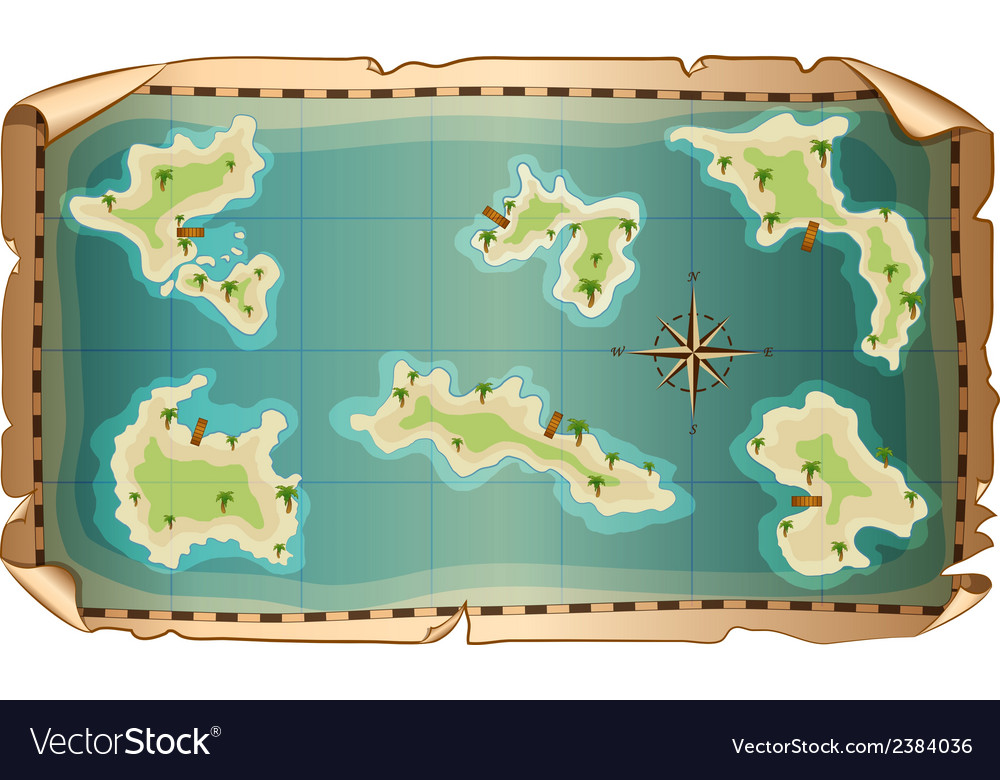 Map of pirate with islands vector | Price: 1 Credit (USD $1)