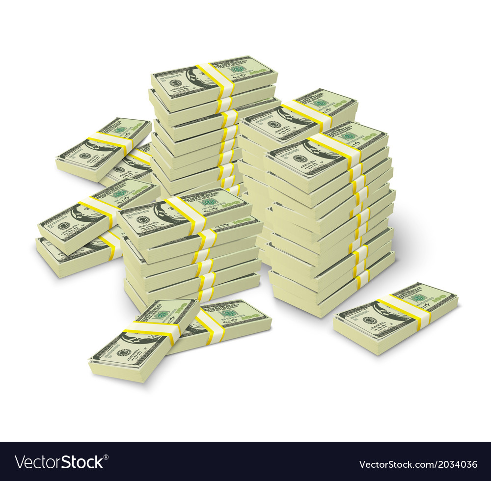 Money stacks banknotes pile concept vector | Price: 1 Credit (USD $1)