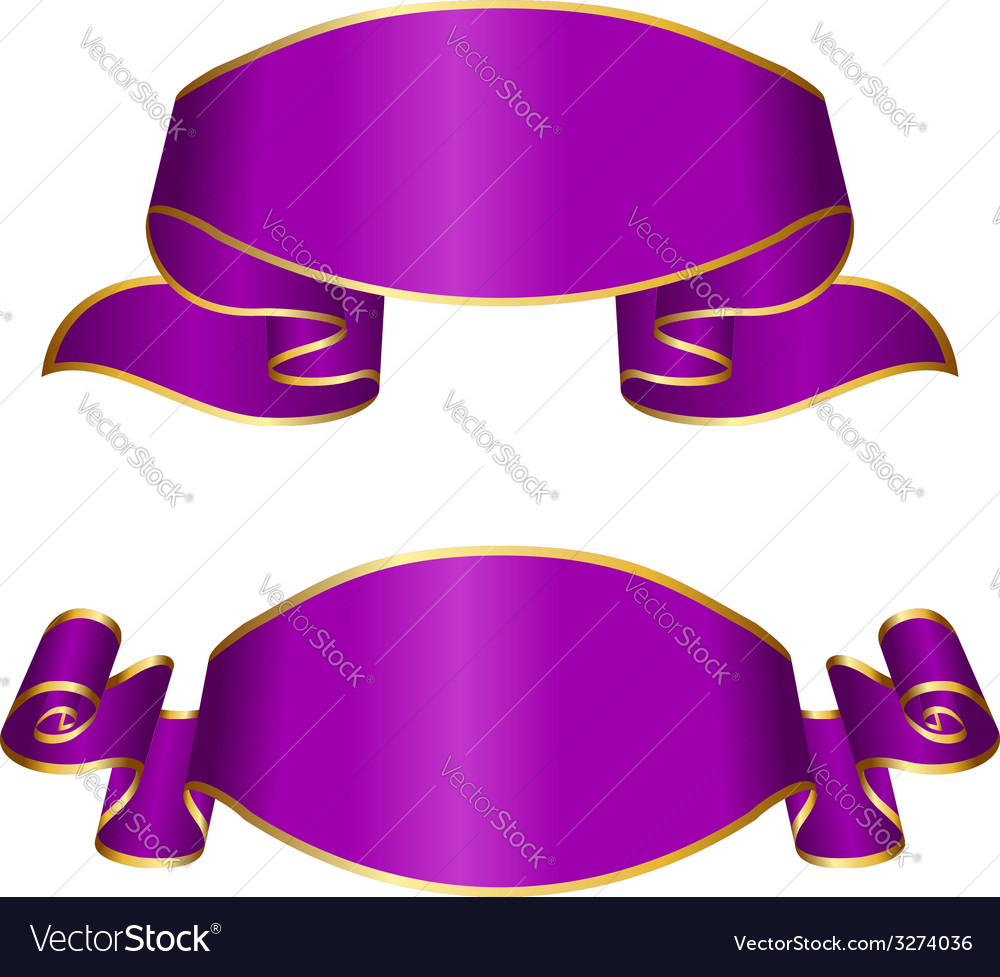 Violet ribbon collection vector | Price: 1 Credit (USD $1)