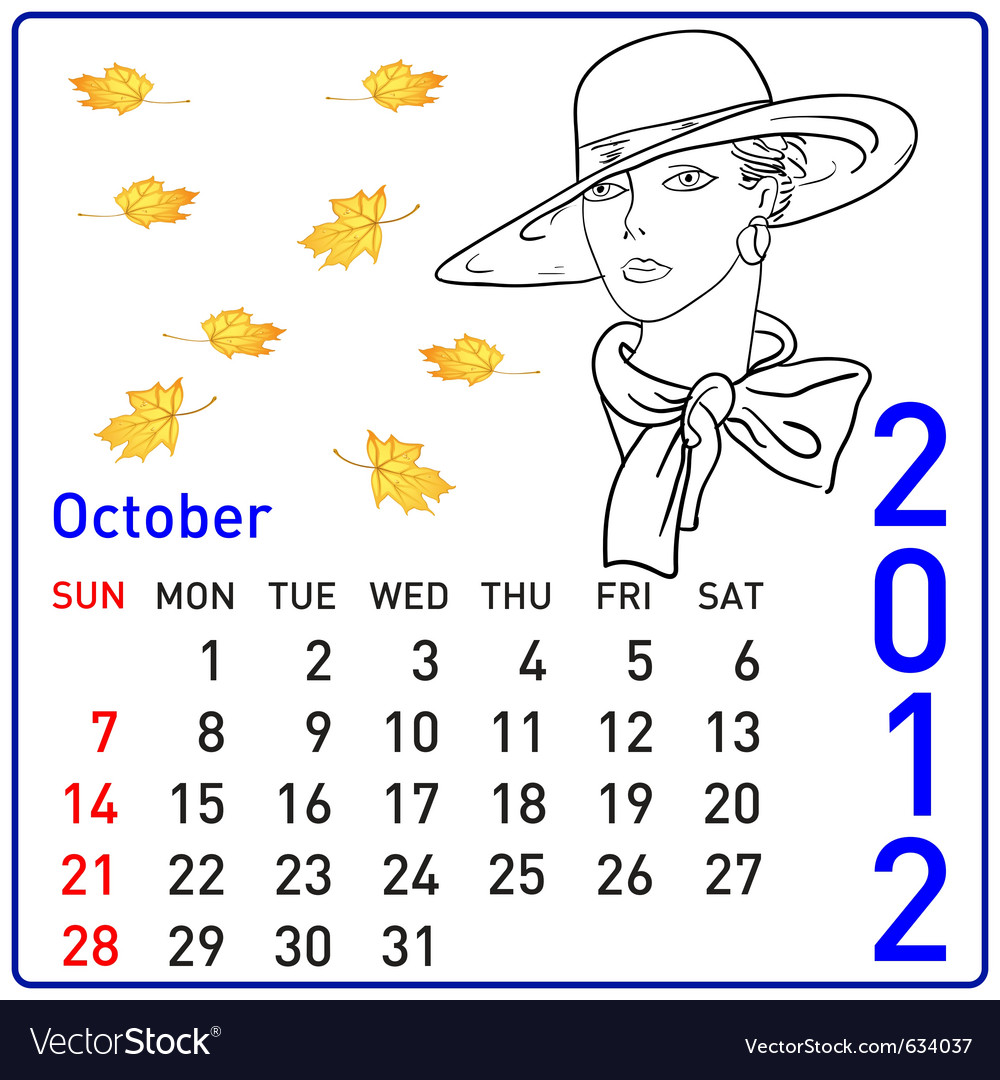 2012 year calendar in october vector | Price: 1 Credit (USD $1)