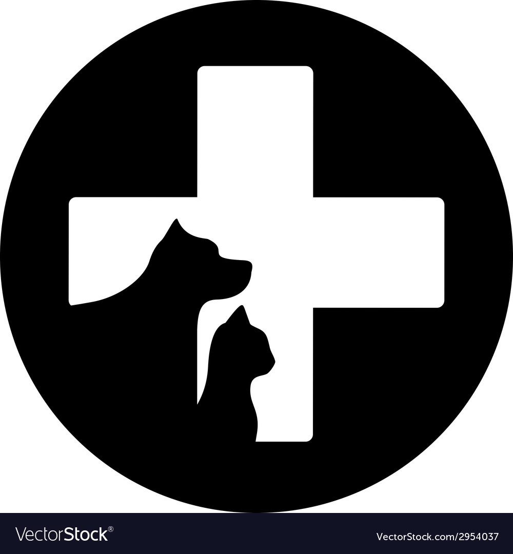 Black round veterinary care icon vector | Price: 1 Credit (USD $1)