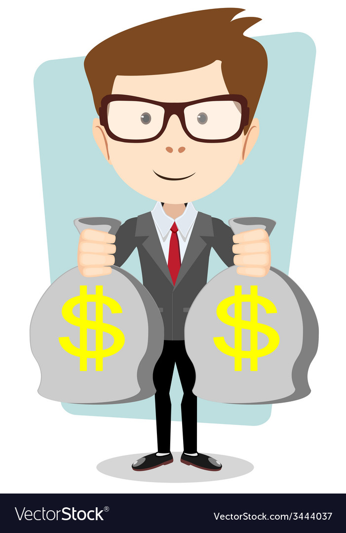 Businessman or banker with a bag of gold cash vector | Price: 1 Credit (USD $1)