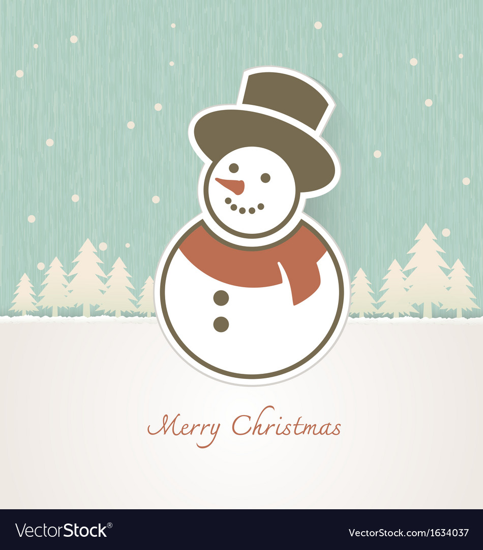 Christmas snowman with trees covered in snow vector | Price: 1 Credit (USD $1)