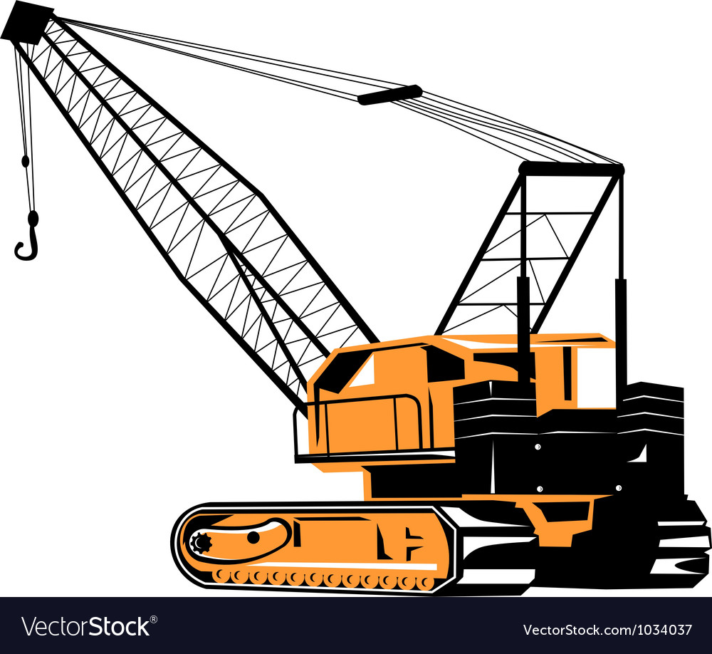 Construction crane hoist retro vector | Price: 1 Credit (USD $1)
