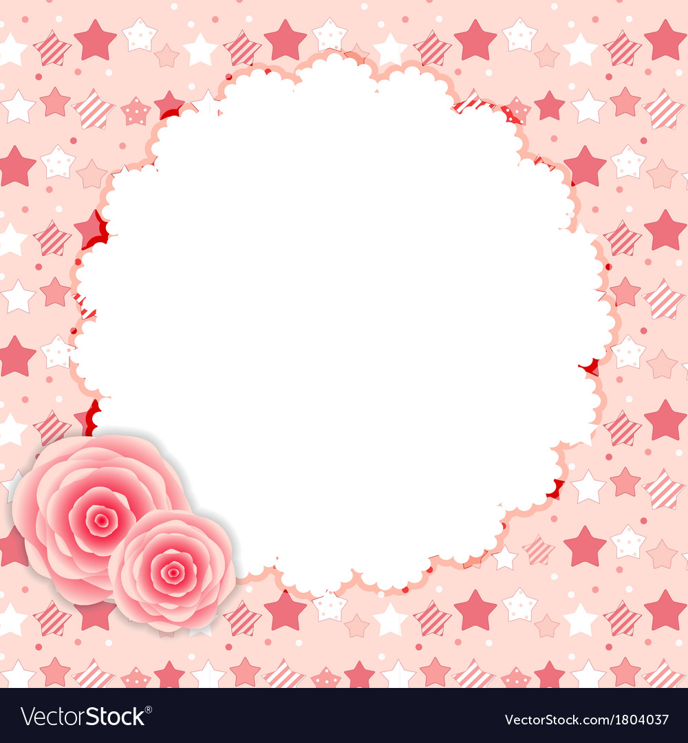 Cute frame with rose flowers vector | Price: 1 Credit (USD $1)