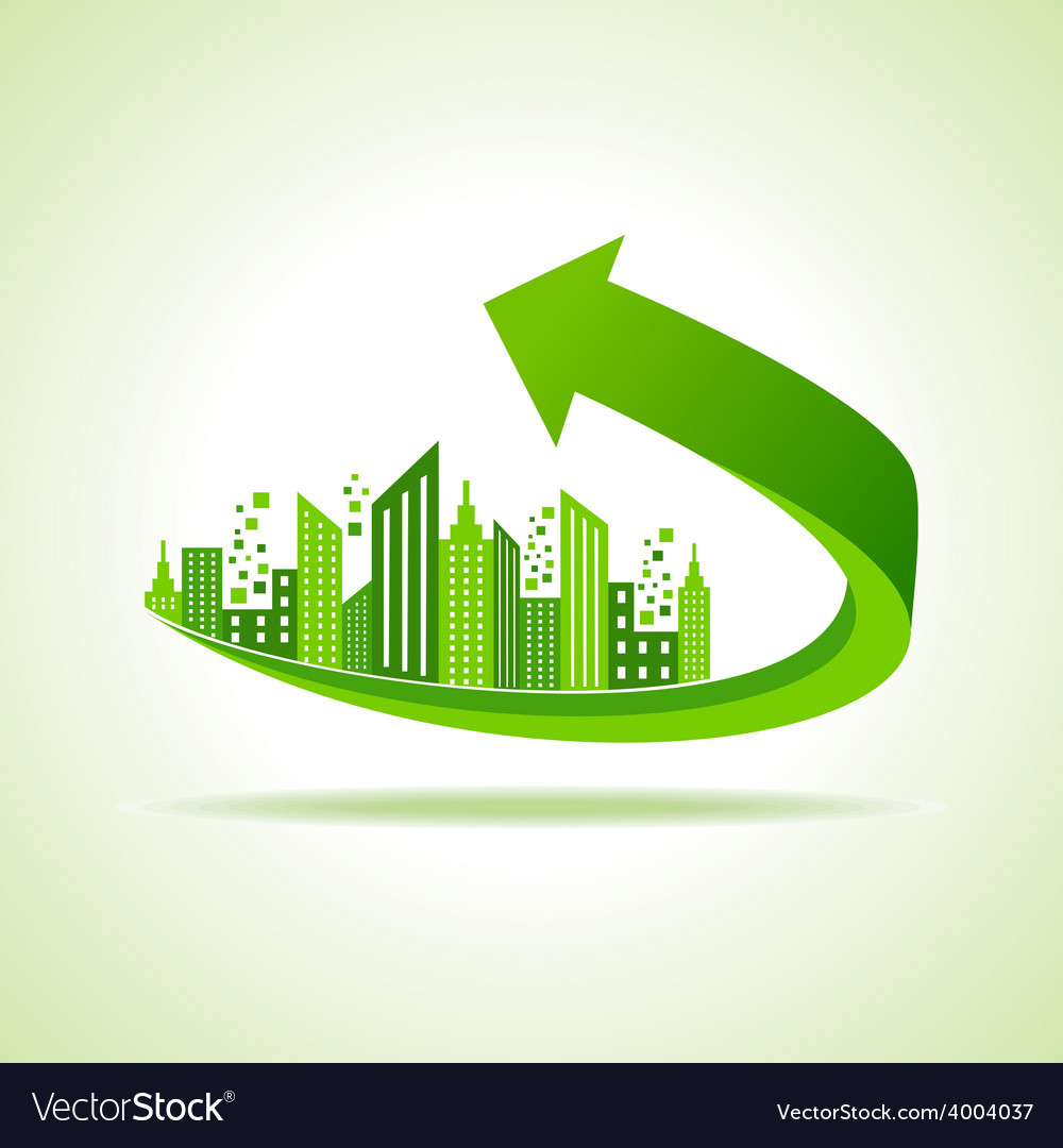 Eco cityscape -go green concept vector | Price: 1 Credit (USD $1)