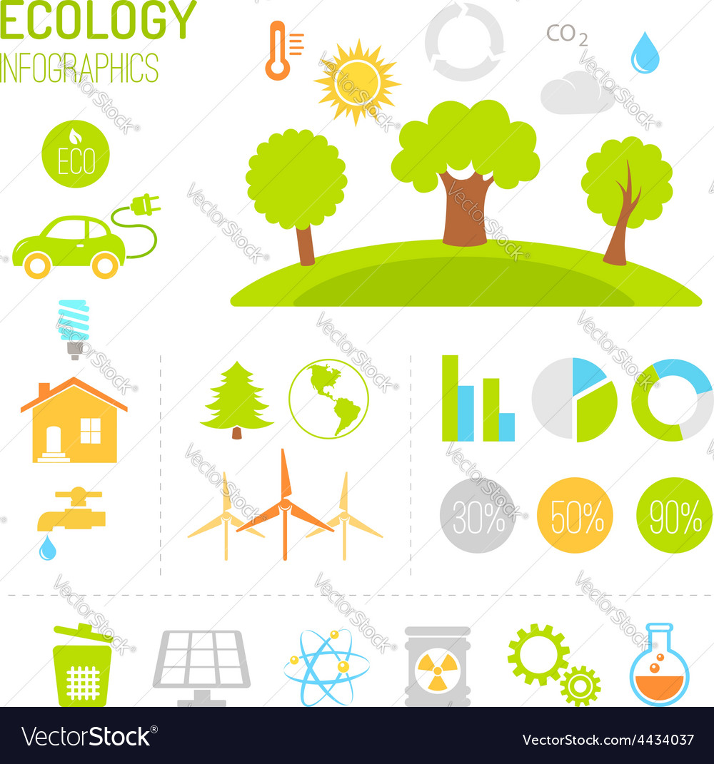 Ecology and organic infographics in flat style vector | Price: 1 Credit (USD $1)