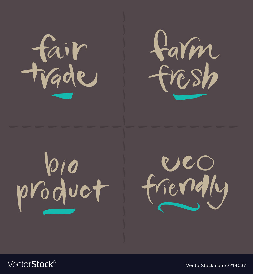 Fairtrade farm bio eco food labels vector | Price: 1 Credit (USD $1)
