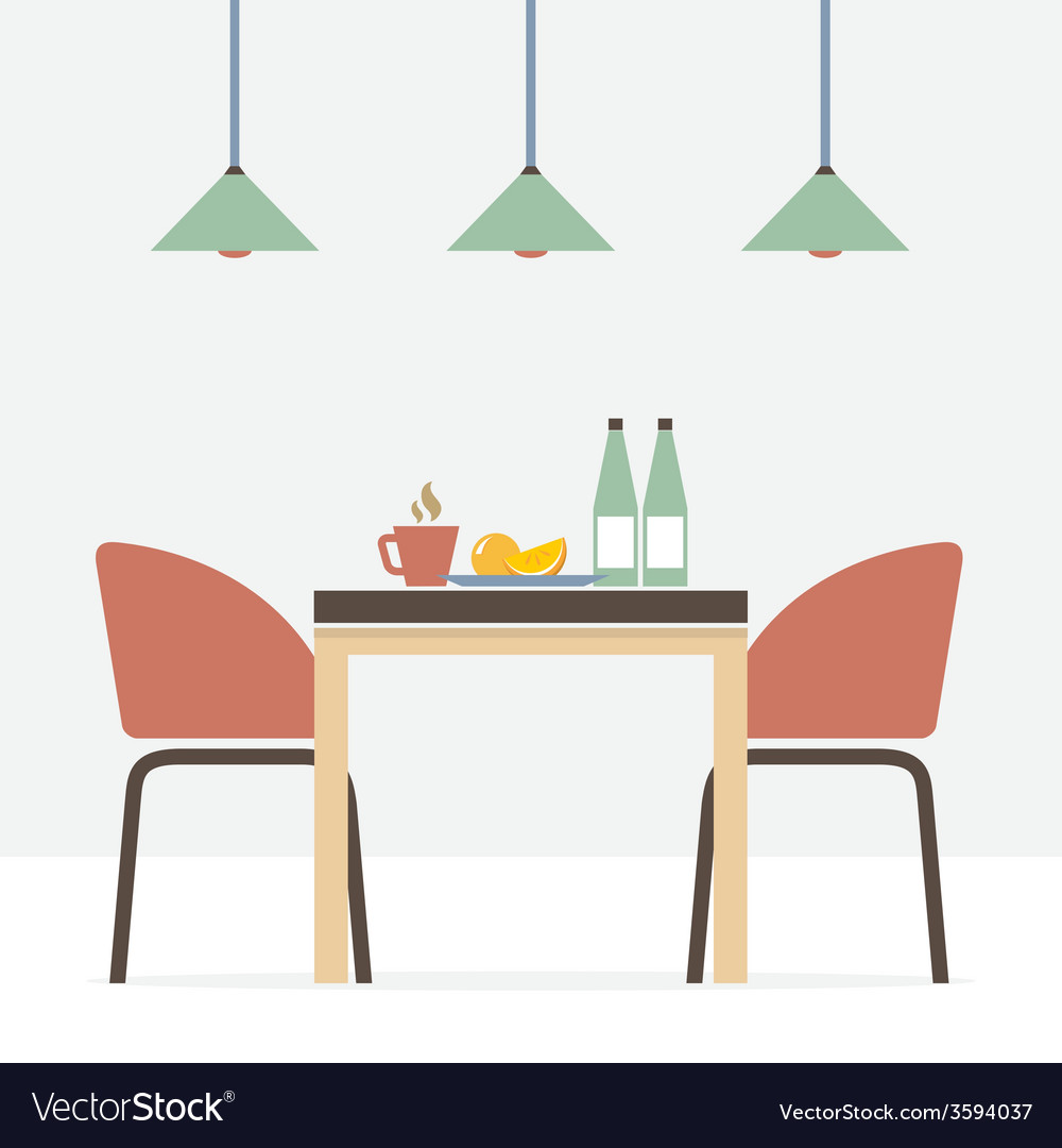 Flat design interior dining room vector   Price: 1 Credit (USD $1)