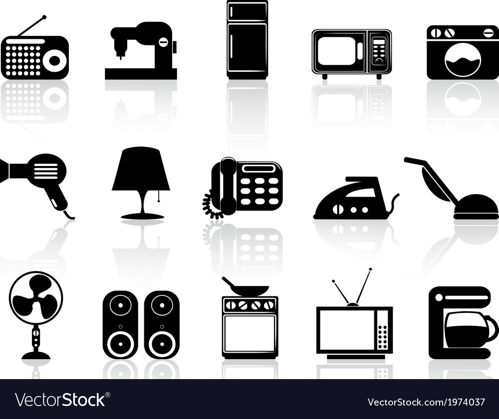 Home appliances icon set vector | Price: 1 Credit (USD $1)