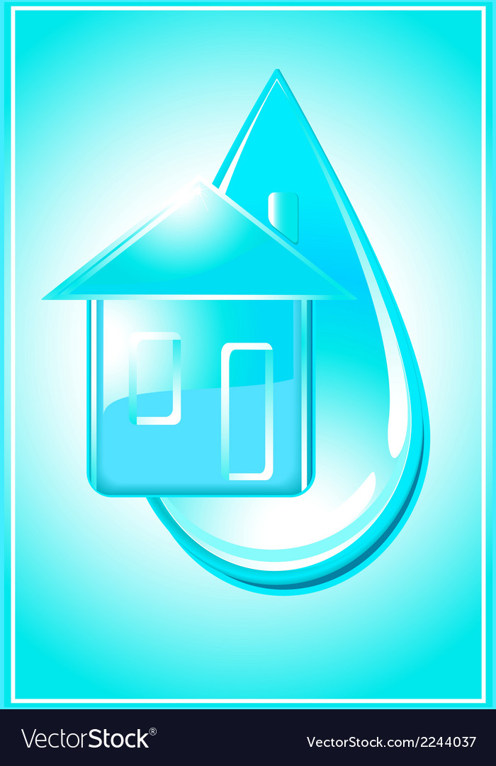House and drop of water vector | Price: 1 Credit (USD $1)