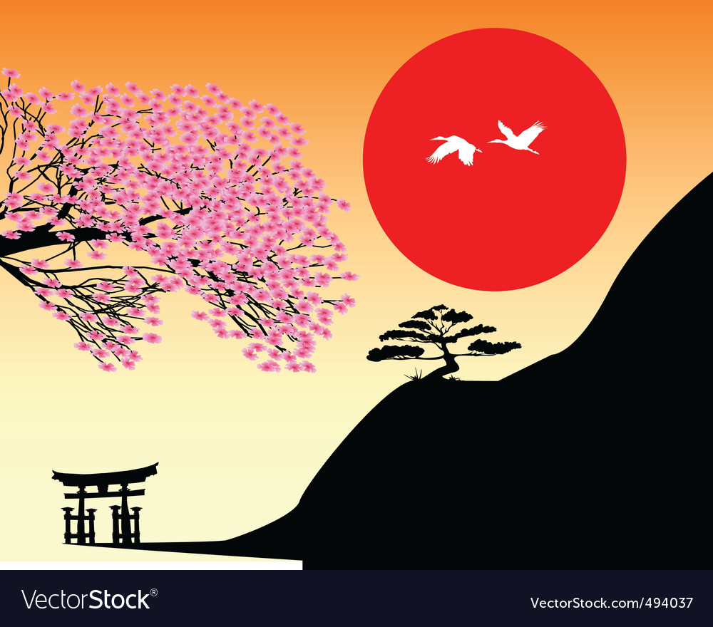 Japanese landscape vector   Price: 1 Credit (USD $1)