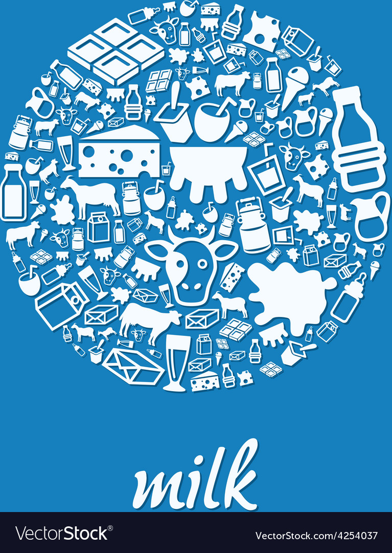 Milk icons in circle vector | Price: 1 Credit (USD $1)