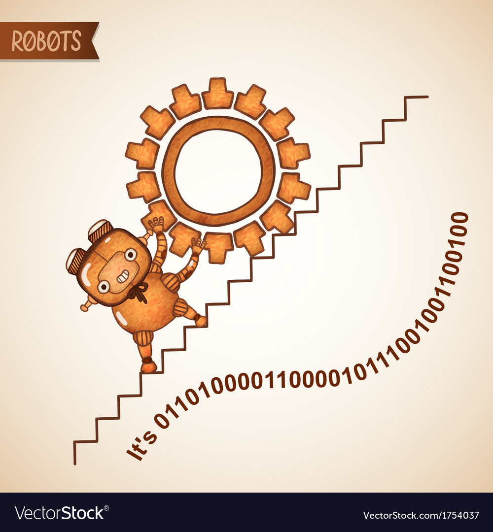 Robot pushing heavy gear upstairs vector | Price: 1 Credit (USD $1)